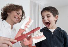Richtiges Zähneputzen von Frau Dr. Daniello demonstriert